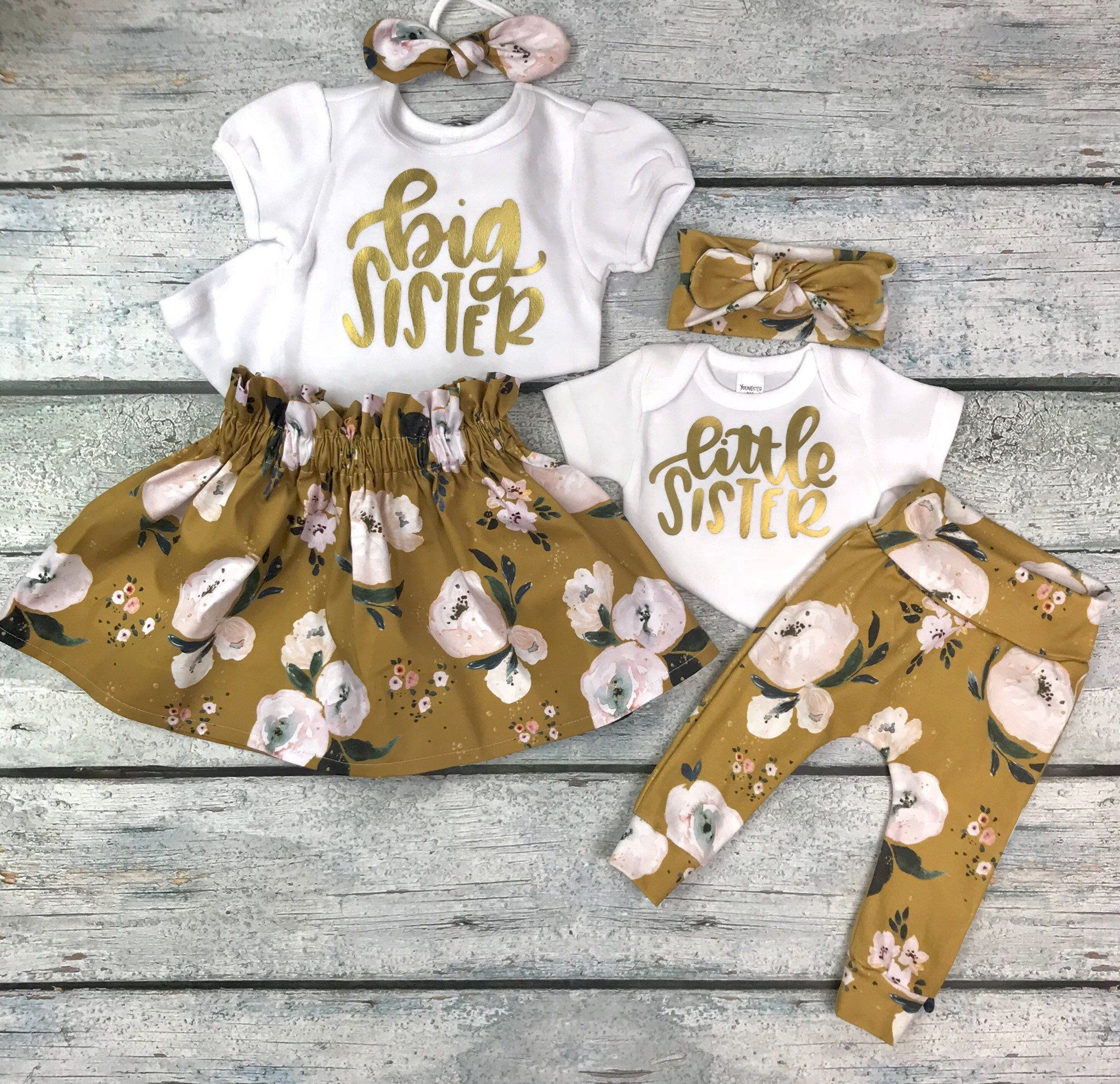 Matching Big Sister Little Sister Outfits Coming Home Outfit Baby Girl Organic Cotton By Bibitibobi Big Sister Outfits Sister Outfits Big Sister Little Sister