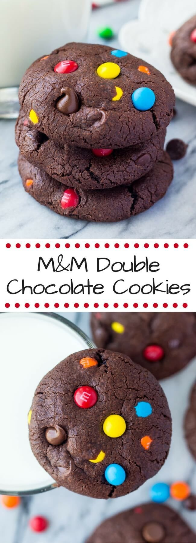M&M Double Chocolate Cookies Fudgy, chewy, super soft M&M Double Chocolate Cookies! The perfect M&M chocolate chip cookies for true chocolate lovers!
