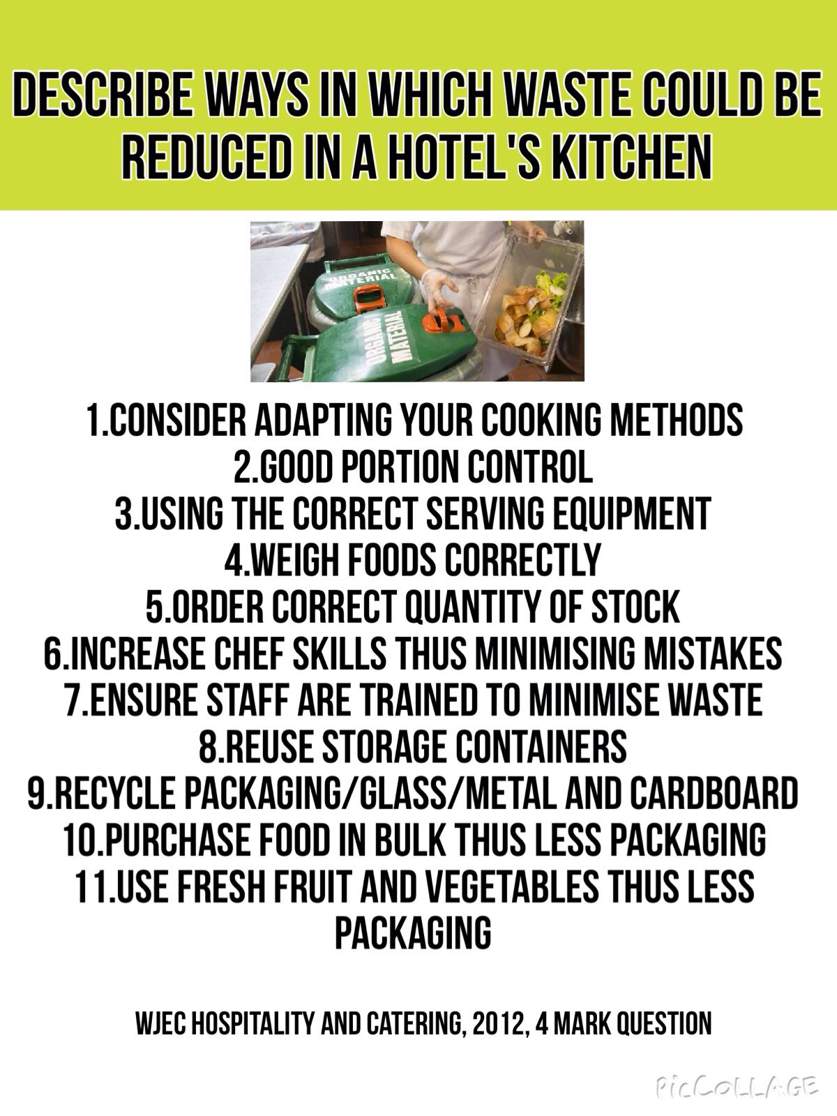 Reduce Waste Hotel Kitchen WJEC Catering & Hospitality