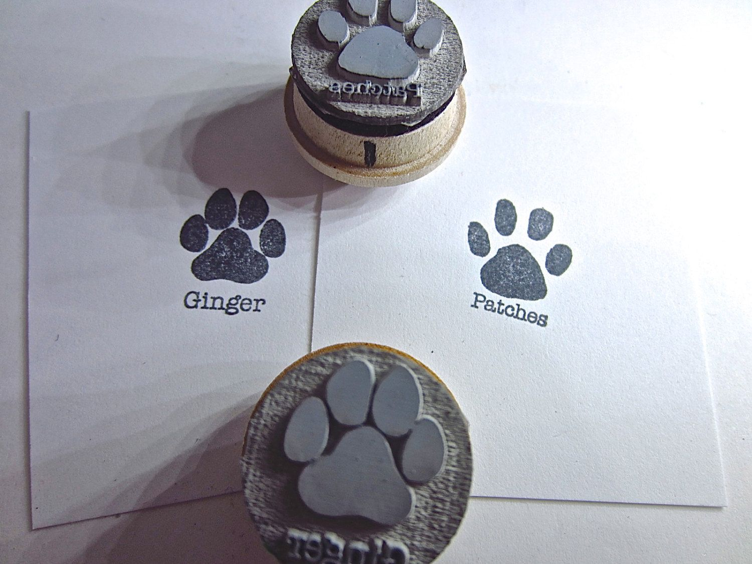 Custom Hand-Carved Wood Mounted Rubber Stamp of Your Pet/'s Pawprint 2