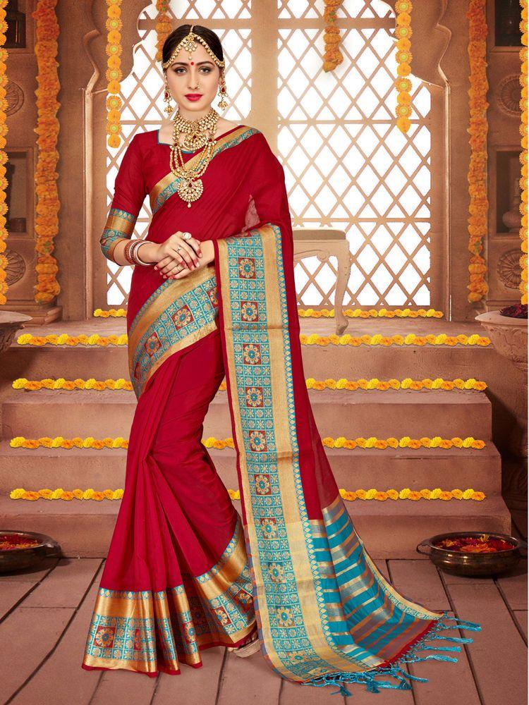 Indian Designer Traditional Diwali Women Saree Maroon CottonSilk Woven  Sari-1044 #Farithi #Saree | Indian designer sarees, Saree designs,  Bollywood designer sarees