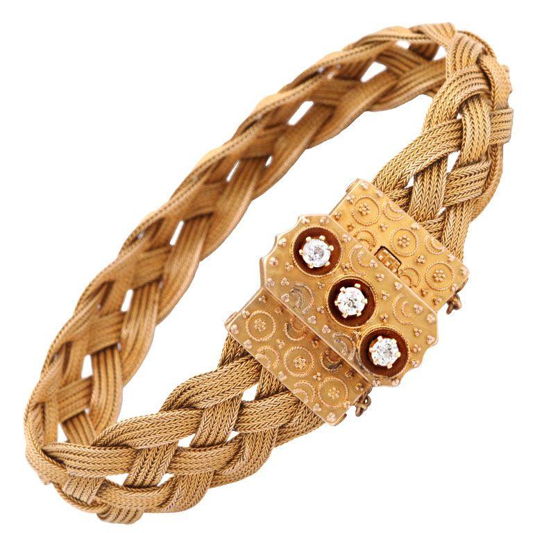 ca. 1880 Antique American Braided Gold and Diamond Bracelet