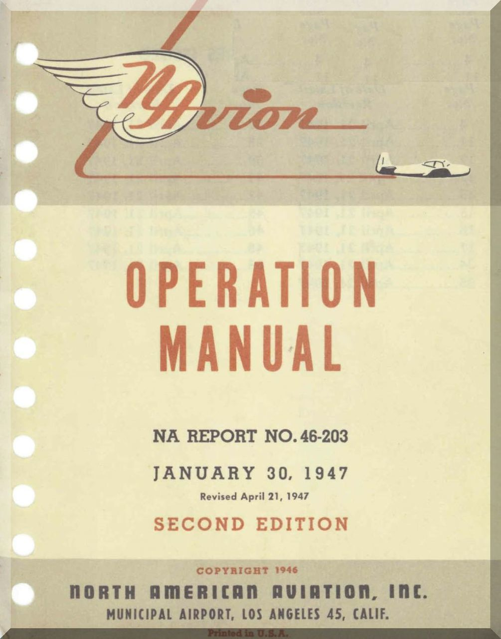 North American Aviation Navion Aircraft Operation Manual  Report