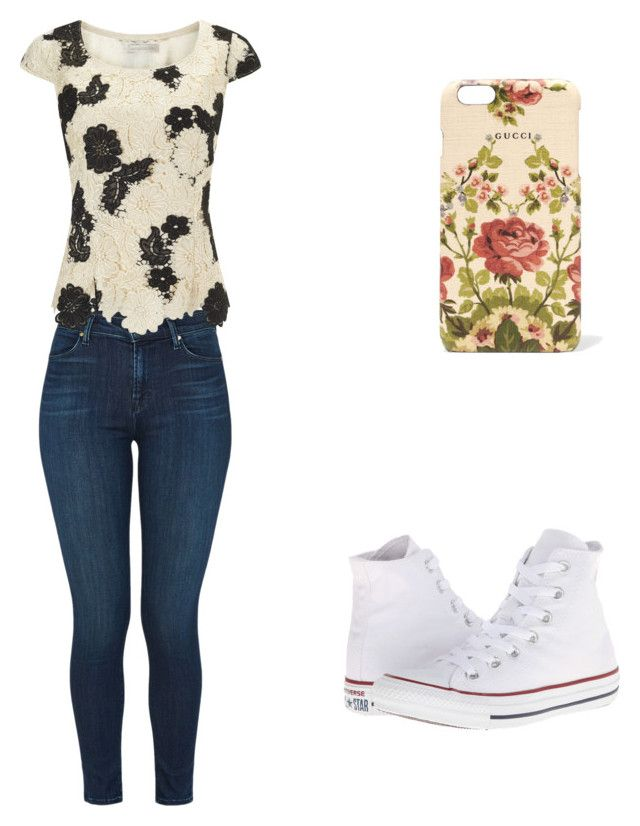 """""""❤️"""" by veronicasahowell on Polyvore featuring Gucci, J Brand, Jacques Vert and Converse"""