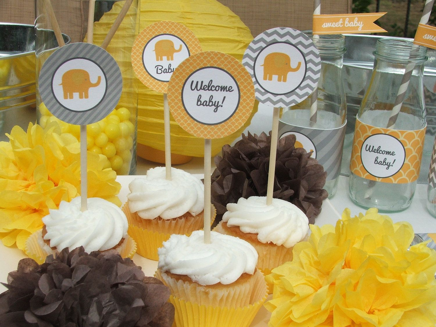 Girl Baby Shower Themes Yellow ~ Baby shower decorations elephant mustard yellow gray party package