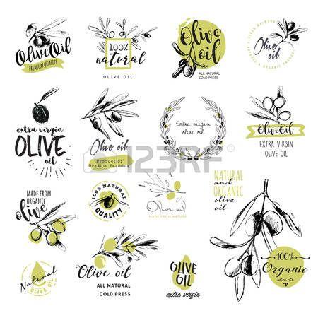 Conjunto De Etiquetas Y Senales De Aceite De Oliva Acuarela Dibujado A Mano Aceite De Oliva Manos Dibujo Aceite
