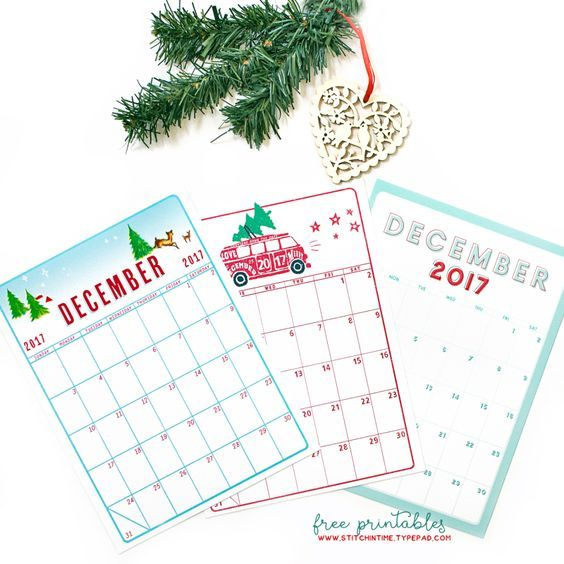 2017 Free Printables December Daily December Daily Pinterest - daily calendar printable