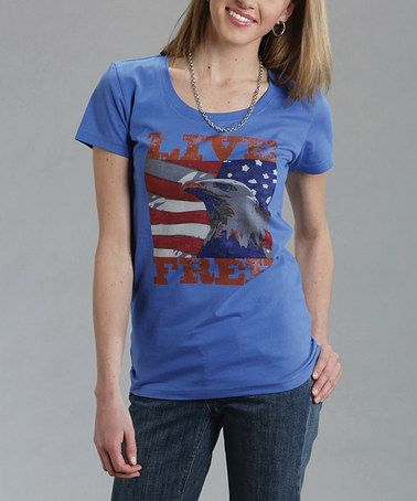 Look what I found on #zulily! Blue & Red 'Live Free' Eagle Tee - Women & Plus #zulilyfinds