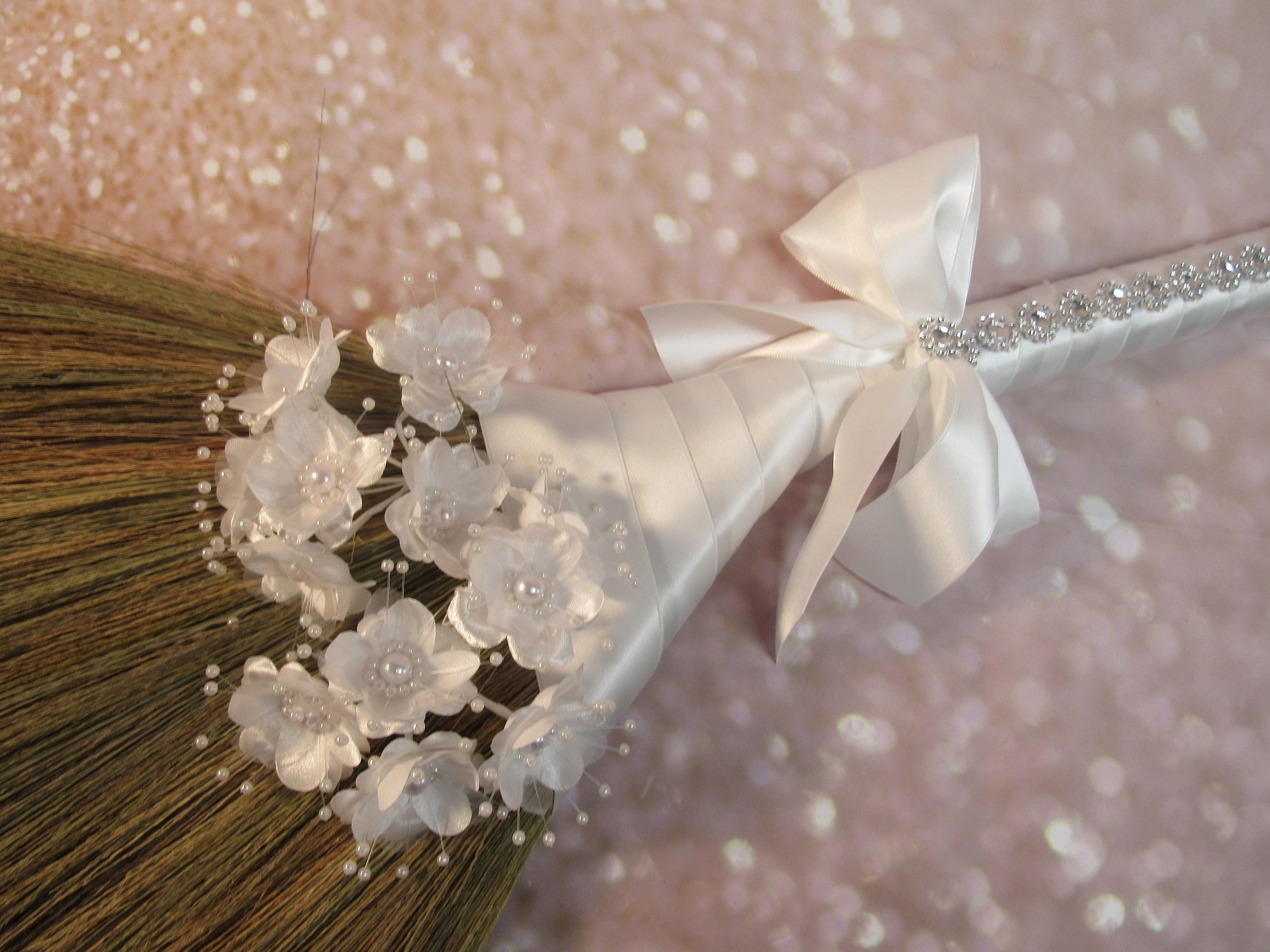 Wedding Jump Broom With Bling For Jumping The Broom Ceremony Beaded Pearl Flowers White Ribbon Please Read Ad For Detai In 2020 Wedding Broom Bling White Ribbon