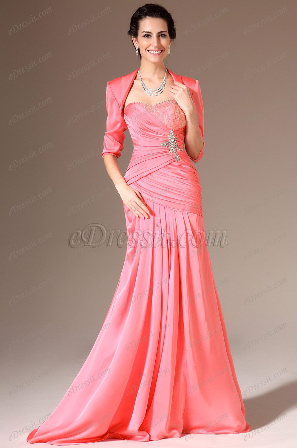 eDressit 2014 New Coral Beaded Two-Piece Mother of the Bride Dress ...