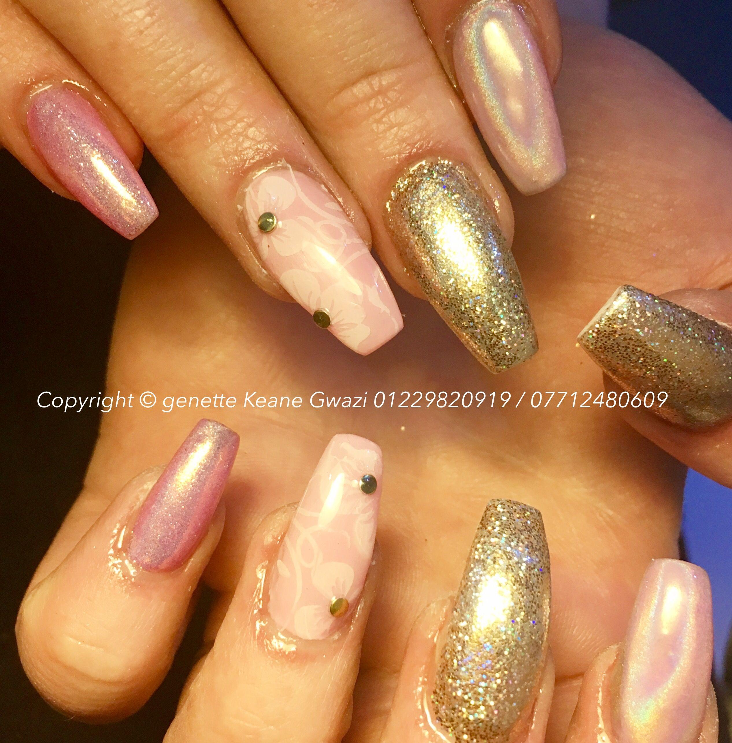 Coffin acrylic nails, pink mermaid powder / chrome, gold holographic nail glitter & stamping nail art. CND shellac gel finish.