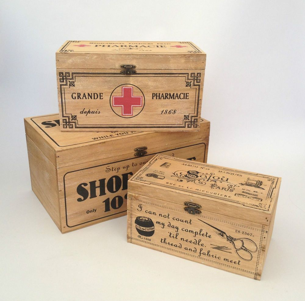 Attractive Vintage Wooden Storage Box French First Aid / Shoe Shine / Sewing Shabby  Rustic