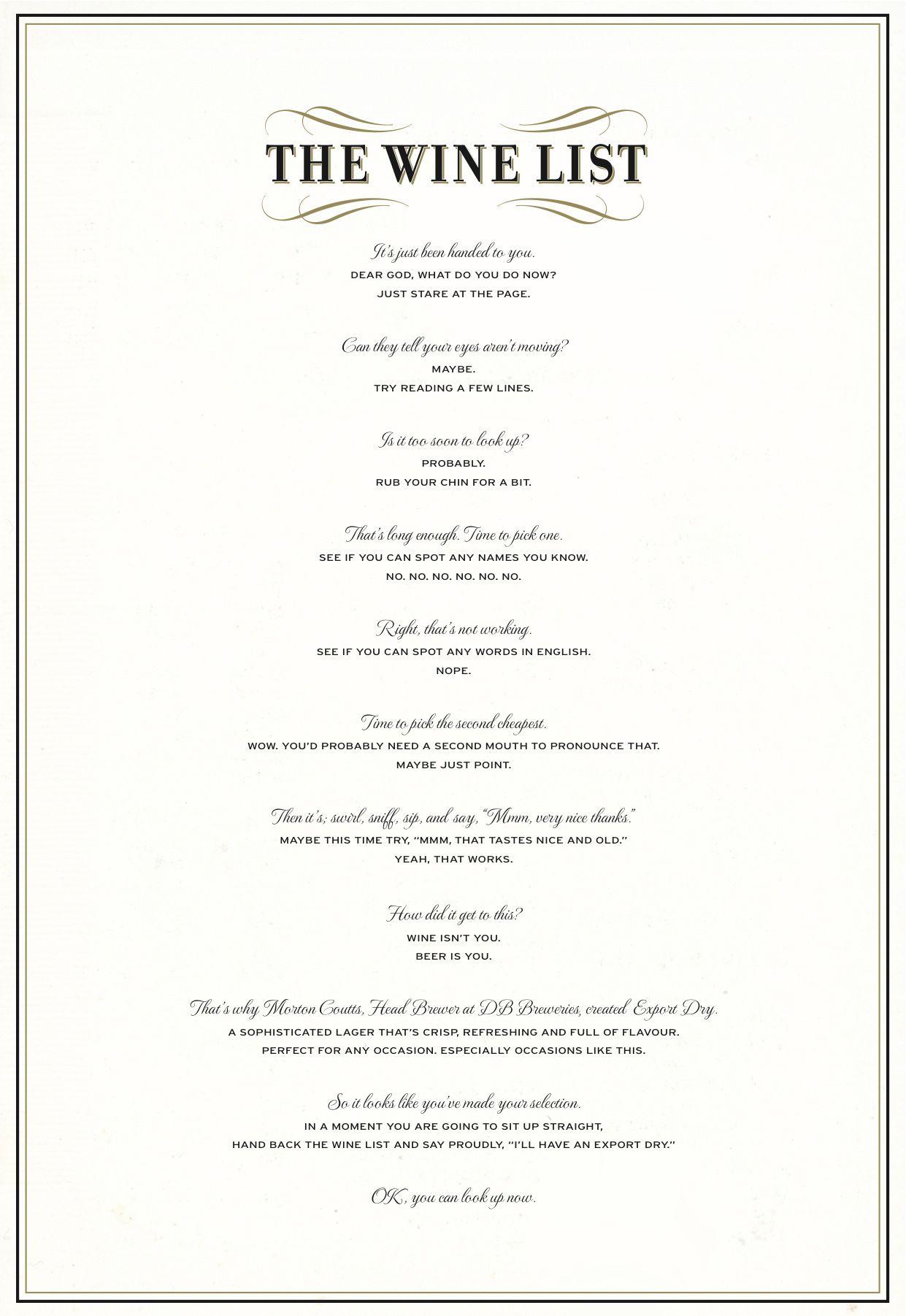 20 Best Print Ads Of 2012 Wine List Print Ads Wine List Menu