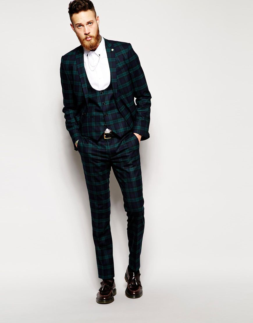 Image 1 of Noose & Monkey Green Tartan Suit In Super Skinny Fit ...