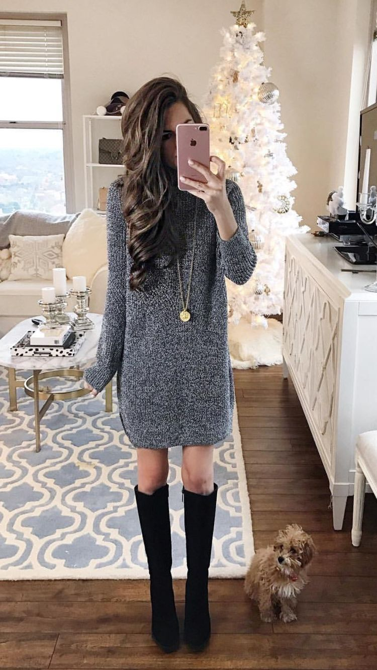 Grey sweater dress and black boots outfit