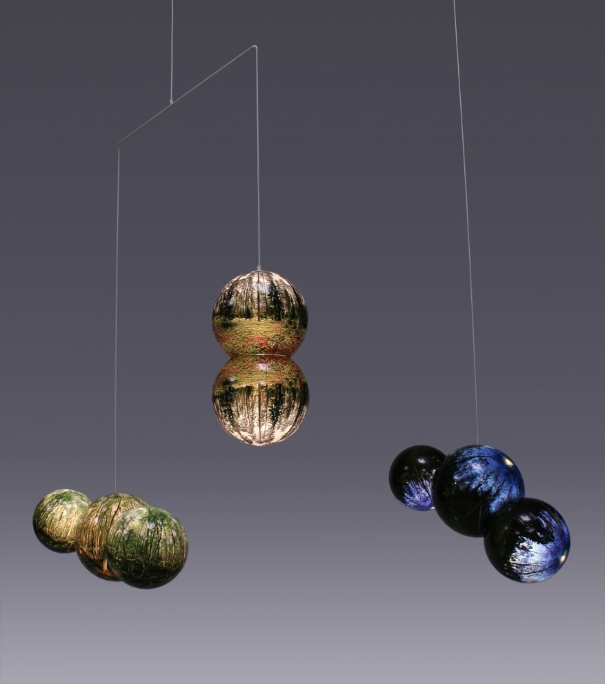 Inverted Forrest Mobile  Photo on vinyl foil, acrylic globes  low energy bulbs, cabel  Variable dimensions  Bigert & Bergström 2005