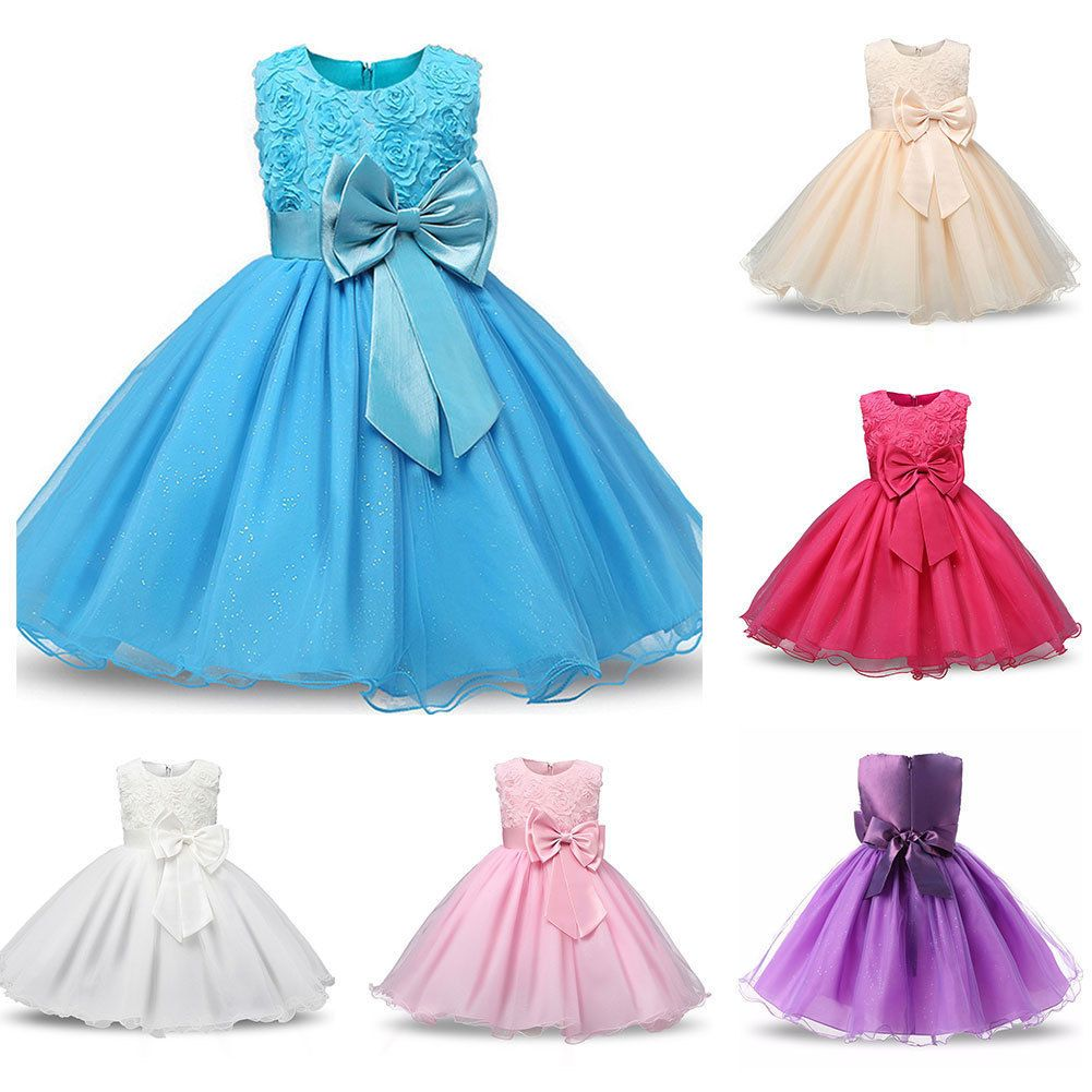 Children baby girls bow rose flower tutu dress princess wedding