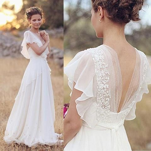 Elegant A-Line Ivory Flower Cap Sleeve V-Neck Chiffon Open Back Wedding Dresses …