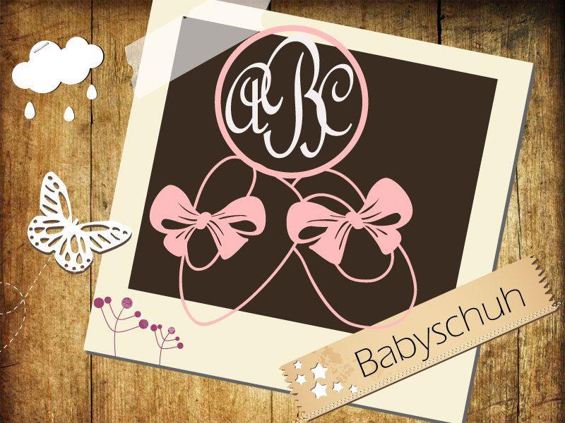 SVG DXF File Datei Monogramm Babyschuh Plotter Silhoutte Cameo cut craft cutters von LottaElli auf Etsy