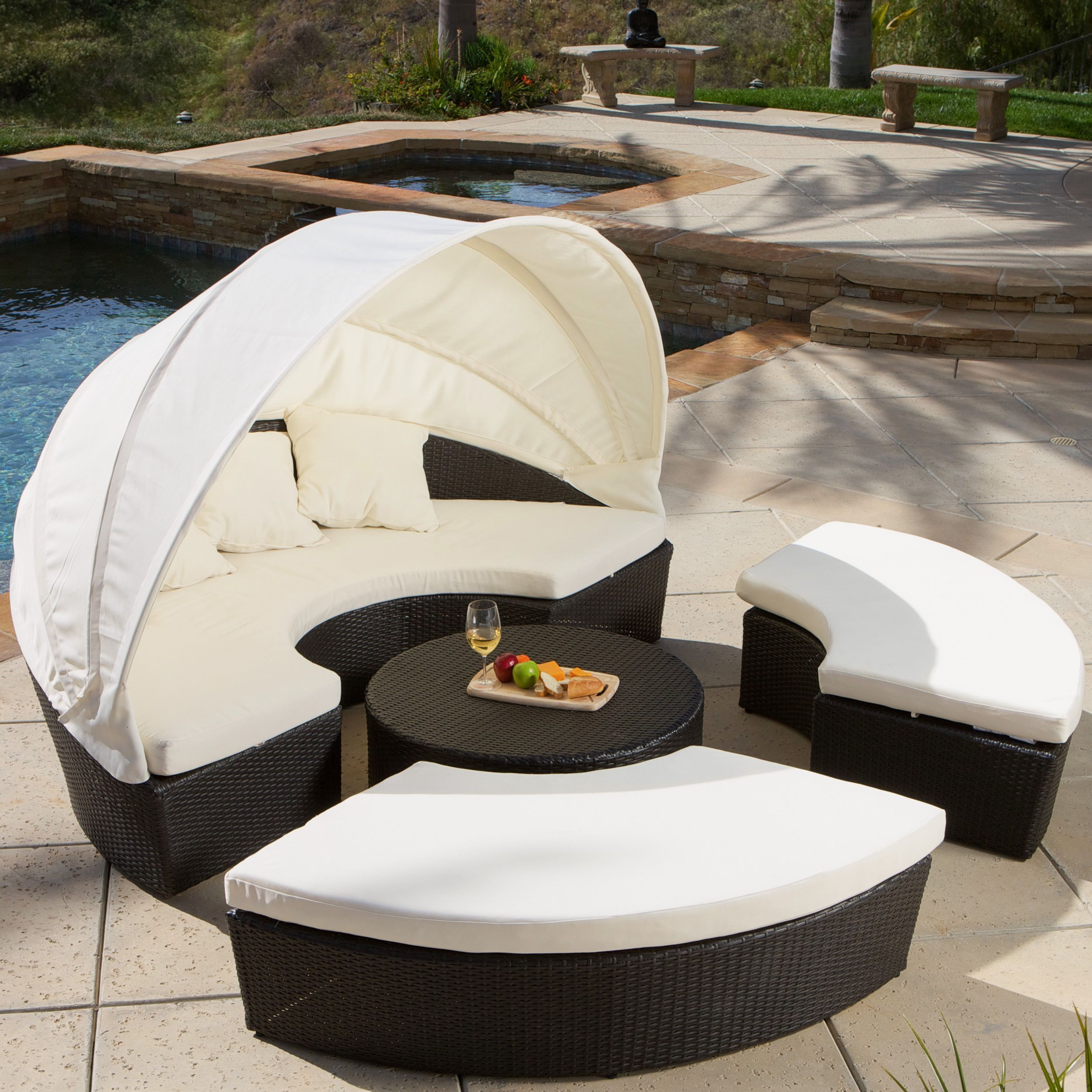 Christopher Knight Home La Mesa Cabana/ Canopy Set - Overstock™ Shopping - Big Discounts on Christopher Knight Home Sofas Chairs u0026 Sectionals & This four-piece La Mesa Cabana and canopy set gives you a shady ...