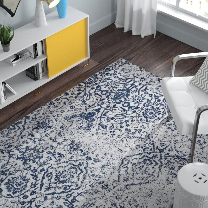 Orourke Abstract Ivory Navy Blue Area Rug Rugs