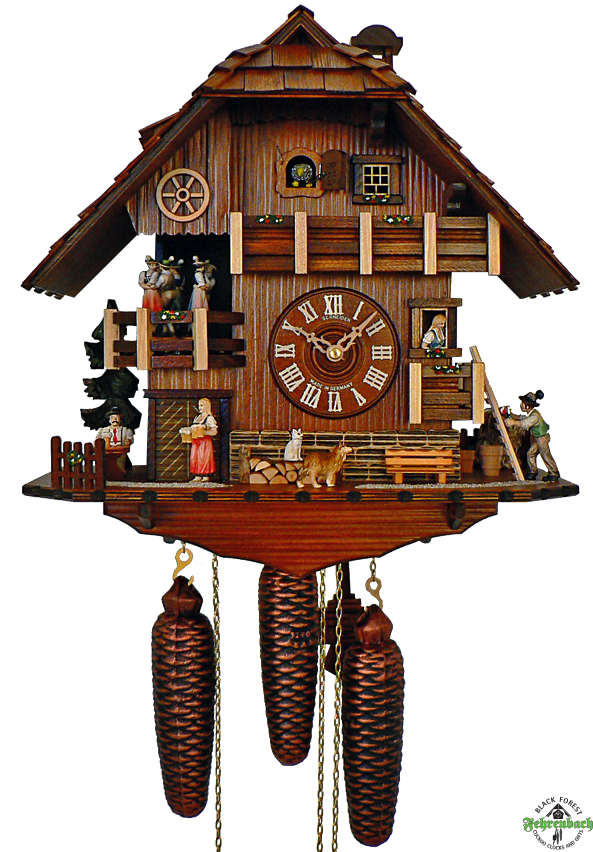Chalet Cuckoo Clock With Suitor Bringing Flowers Schneider