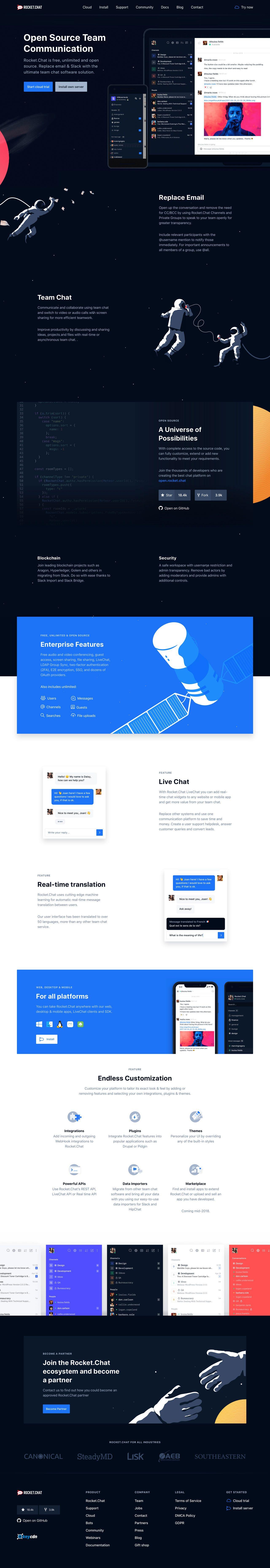 Rocket Chat landing page design inspiration | ( Other