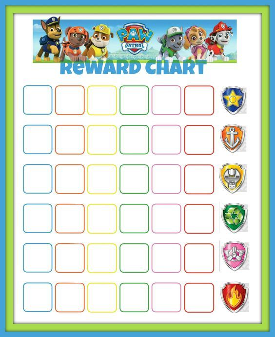 Paw Patrol Reward Chart Kids Reward chart kids, Potty training