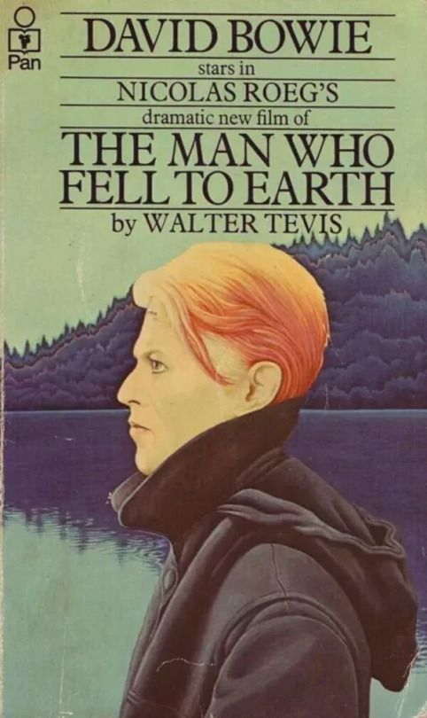 David Bowie on the cover of The Man Who Fell to Earth by Walter Tevis, 1976.