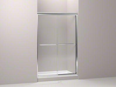 K 702208 L Fluence Frameless Sliding Shower Door With 1 4 Inch Glass Kohler Sliding Shower Door Shower Doors Frameless Bypass Shower Doors