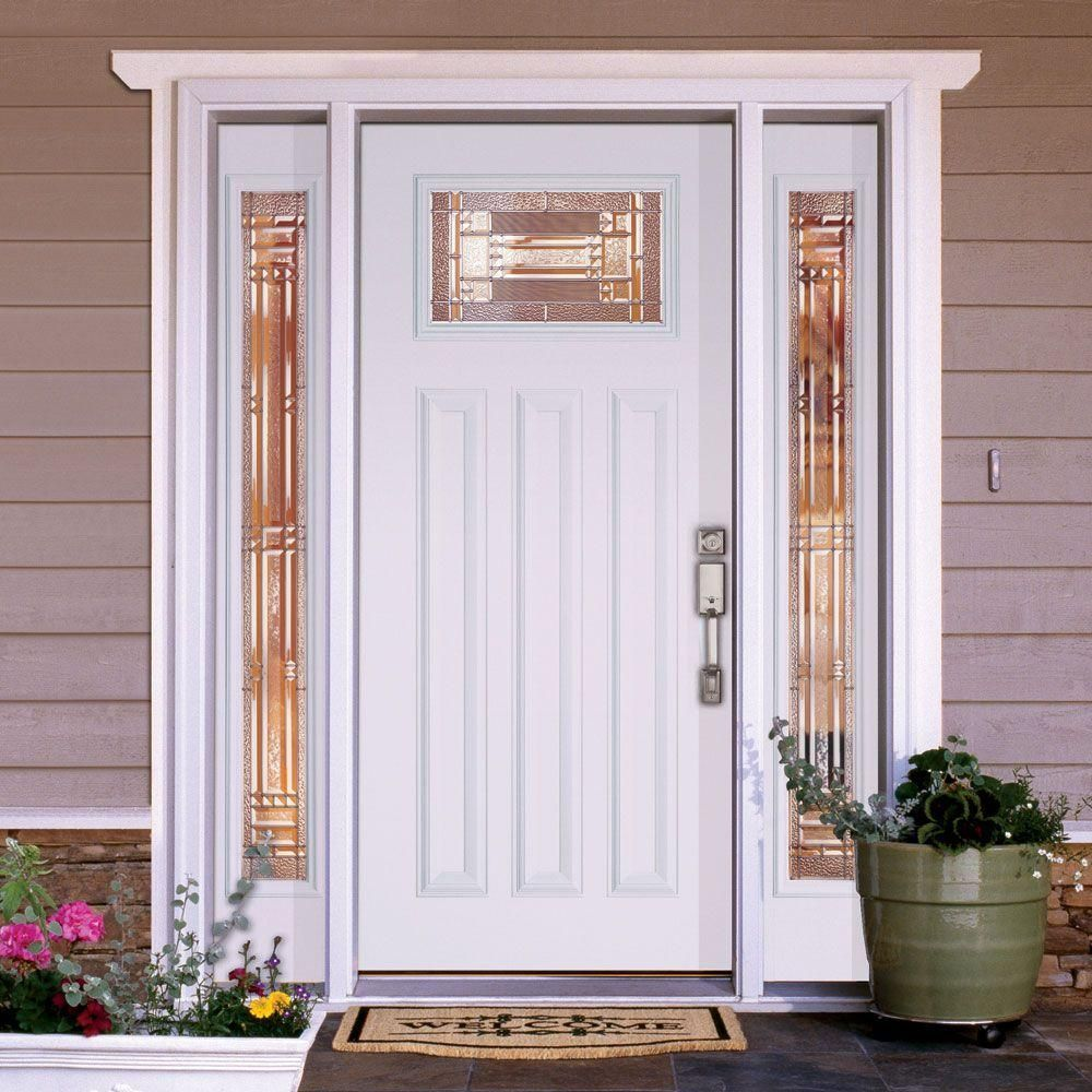 Feather River Doors Preston Zinc Craftsman Primed Smooth Fiberglass Entry Door with Sidelites-A42101- & Feather River Doors Preston Zinc Craftsman Primed Smooth Fiberglass ...