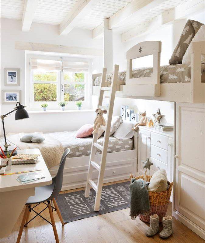 Banco de madera blanco con cajones, colchón, cojín y manta rosas ...