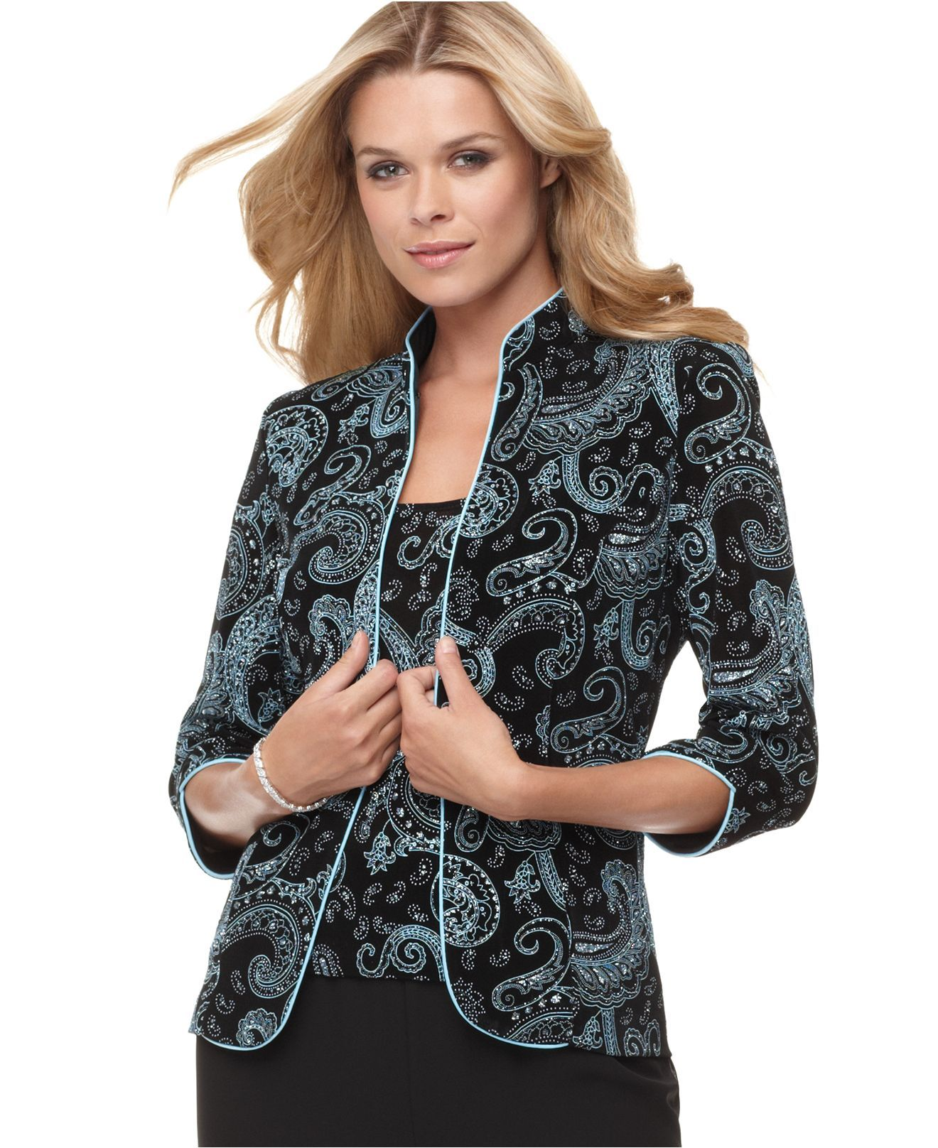 483971317b623 Alex Evenings Three-Quarter-Sleeve Metallic Paisley Jacket and Shell -  Jackets   Blazers - Women - Macy s