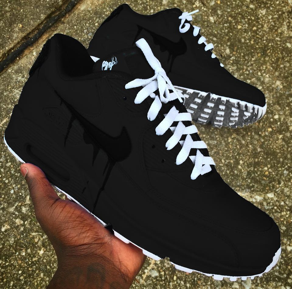 Black Air Max 90 Custom Sneakers Fashion Sneakers Men Fashion Running Shoes For Men