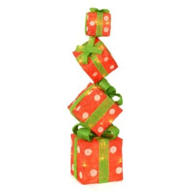 Pre-Lit Stacked Christmas Presents, 29 in | Lights, Holidays and ...