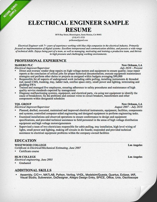 Electrical Engineer Resume Sample civil engineering Pinterest - optimal resume builder