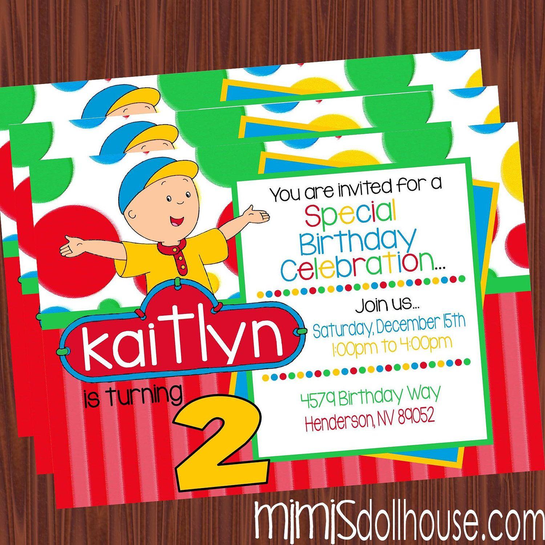 Caillou Invitation- Printable Caillou Birthday Party Invitation ...