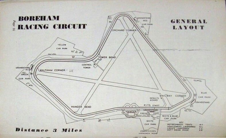 Boreham racing circuit as it was in the 1950s