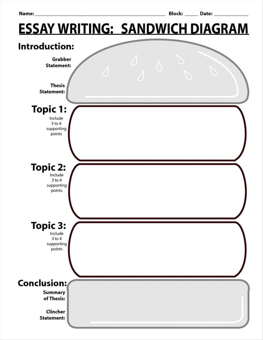 5 Paragraph Essay Graphic Organizer Hamburger Writings And