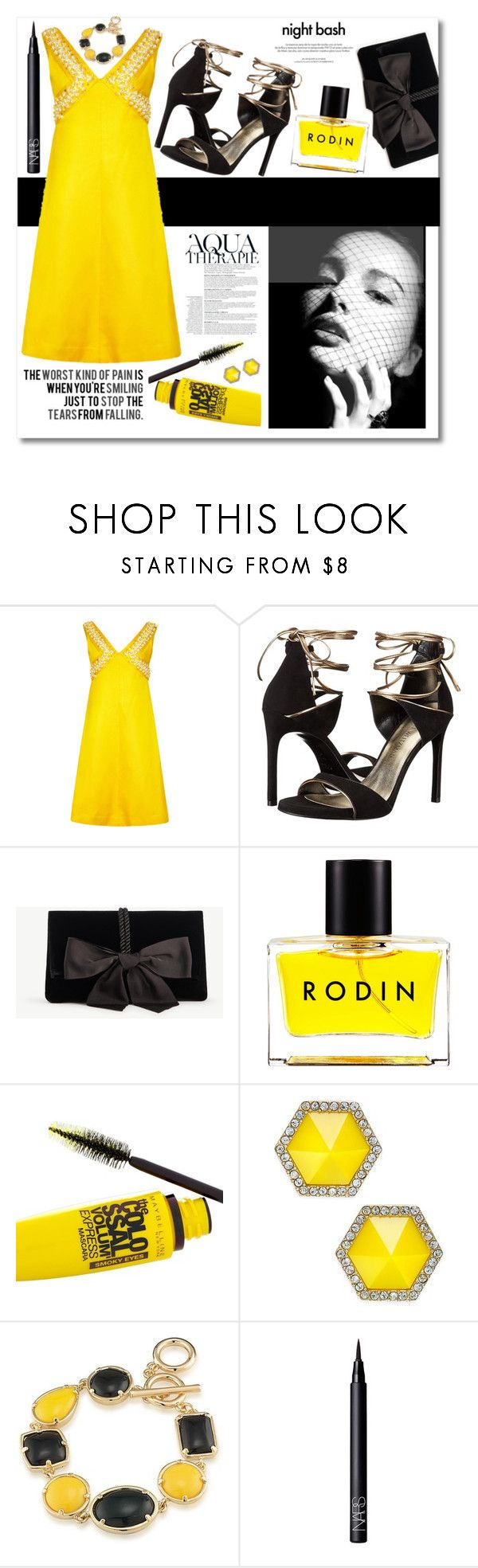 """Untitled #114"" by biinabnab ❤ liked on Polyvore featuring Stuart Weitzman, Ann Taylor, Rodin, Maybelline, Love Quotes Scarves, Anja, Louis Vuitton, ABS by Allen Schwartz, 1st & Gorgeous by Carolee and NARS Cosmetics"