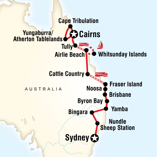 Road Map East Coast Australia.Map Of The Route For East Coast Encompassed Sydney To Cairns Oz
