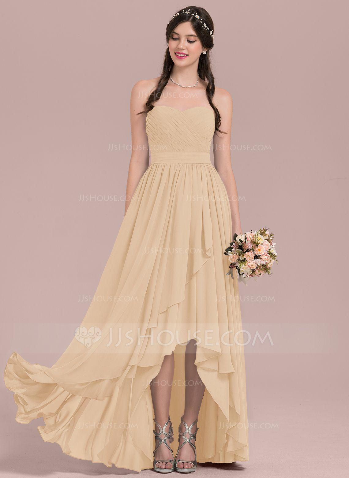 e6d9fc9caa73 A-Line/Princess Sweetheart Asymmetrical Chiffon Bridesmaid Dress With  Cascading Ruffles (007126464) - Bridesmaid Dresses - JJ's House