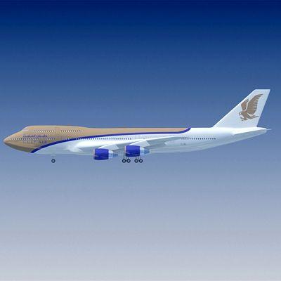 3D Boeing 747 Gulf Air