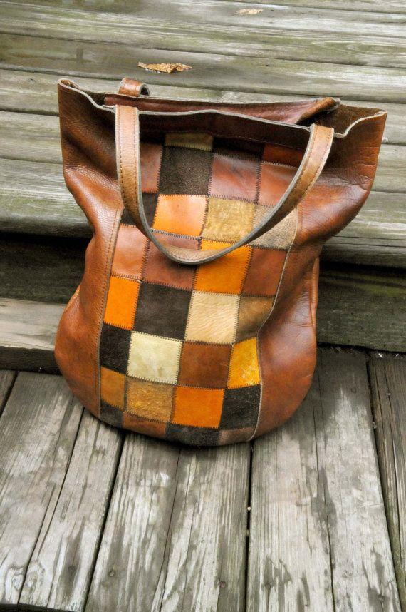 Vintage 60s Large Leather Patchwork Tote Shoulder Bag On Etsy 1 027 07 Hkd