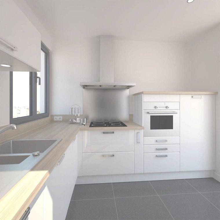 cucine-ad-angolo-moderne-mobili-bianchi-top-legno-chiaro ...