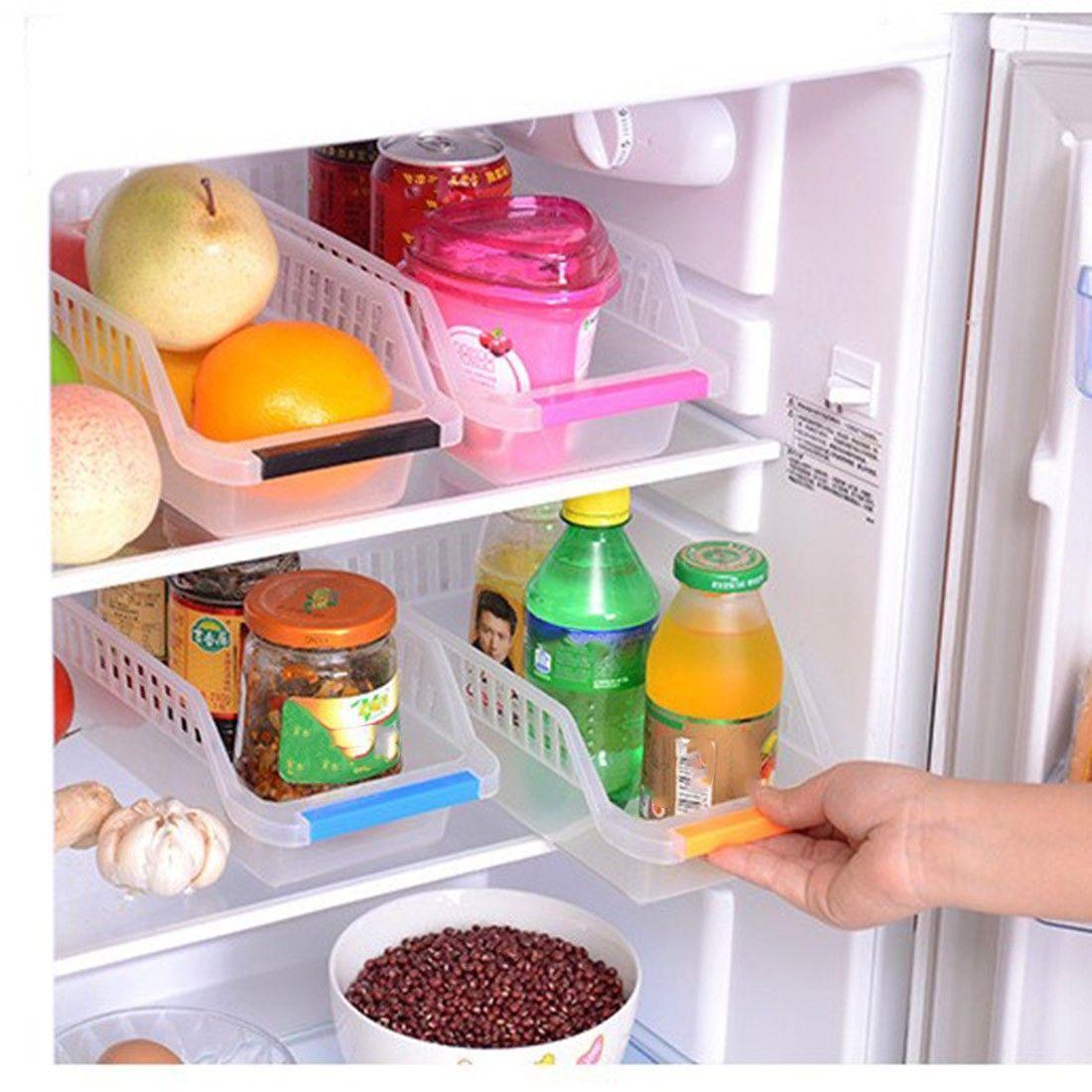 Home Kitchen Fridge Freezer Space Saver Storage Rack Shelf Slide Holder Basket