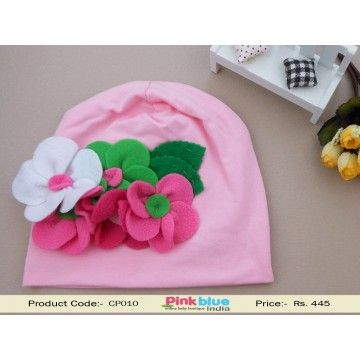 Pink Beanie Summer Cap With Flowers For Baby Girl and Boys ... 78dd03bcc43