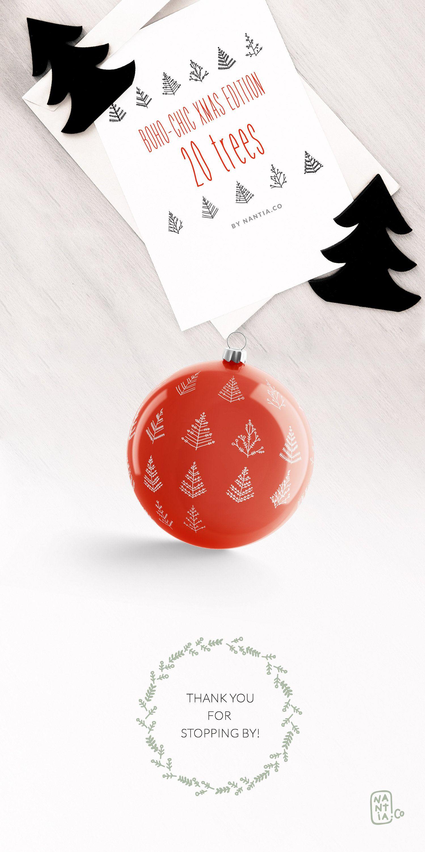 boho chic, clipart, xmas edition, xmas trees, festive