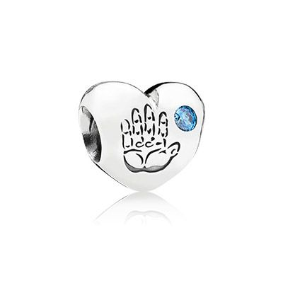 Baby boy silver charm with blue cubic zirconia
