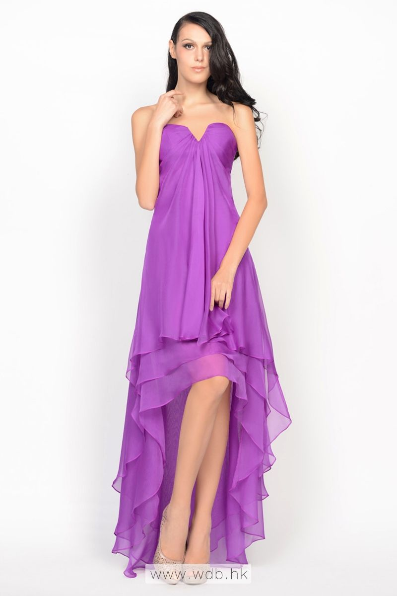 Strapless tiered high-low chiffon cocktail dress $112.98 ...